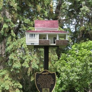 Birdhouse replica of original house on site